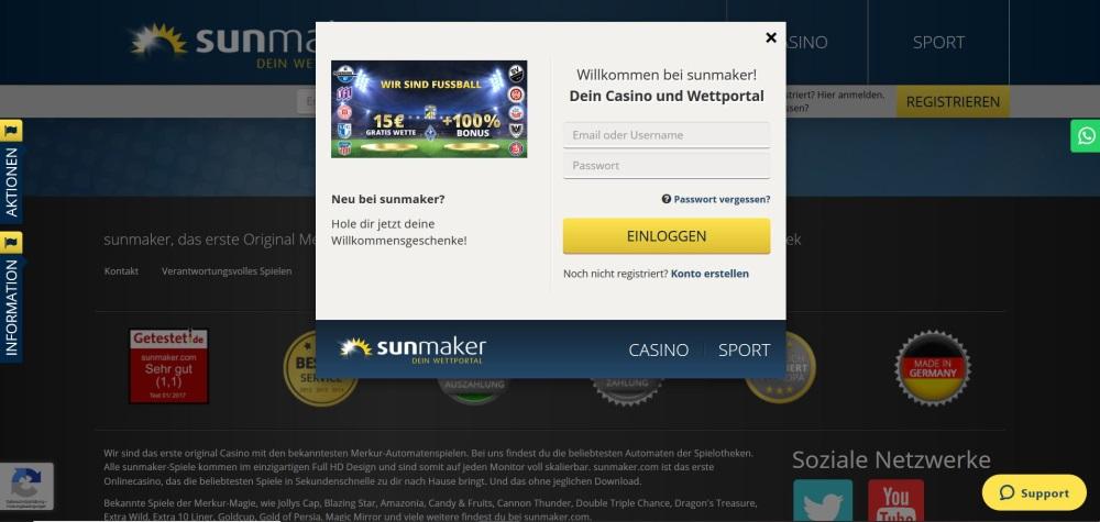 Einloggen ins Sunmaker Casino