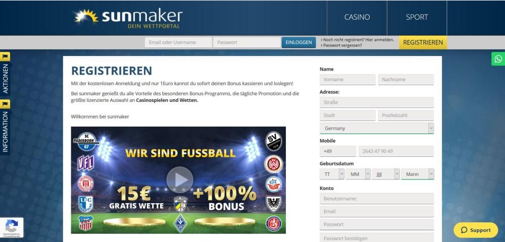 Sunmaker Casino Anmeldung