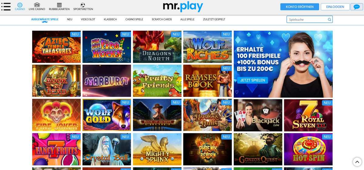 aussuchen mr play casino