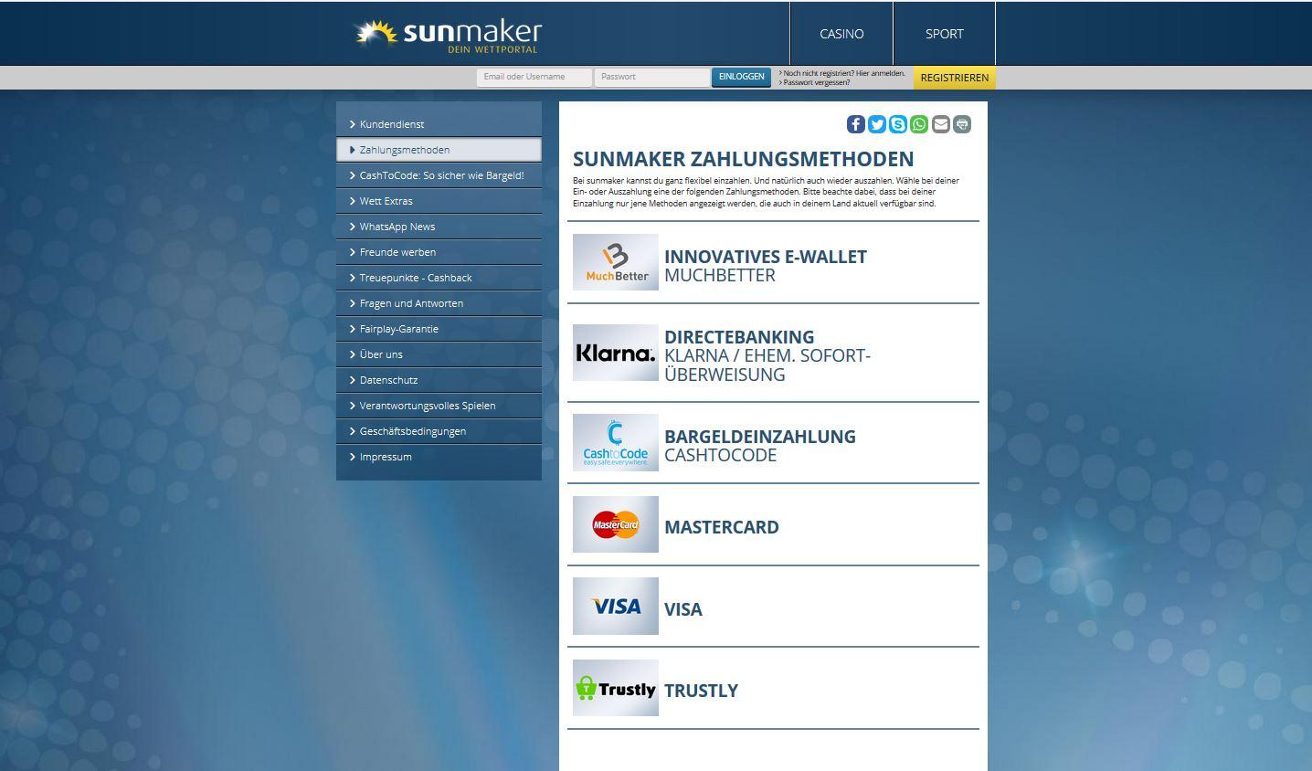 sunmaker Einzahlung