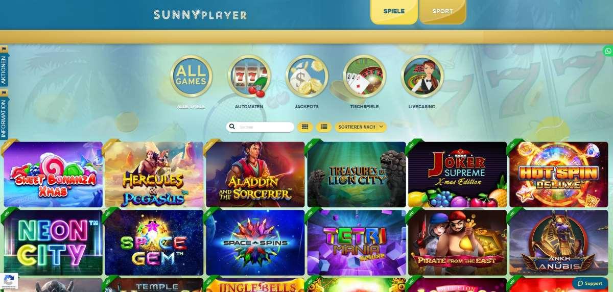 sunnyplayer spiel aussuchen